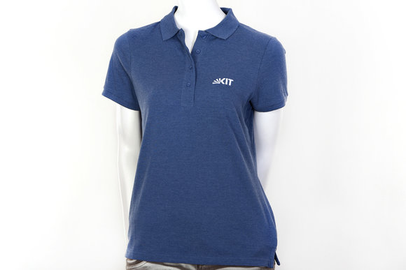 Blue lady polo shirt made of organic cotton by KIT Karlsruhe